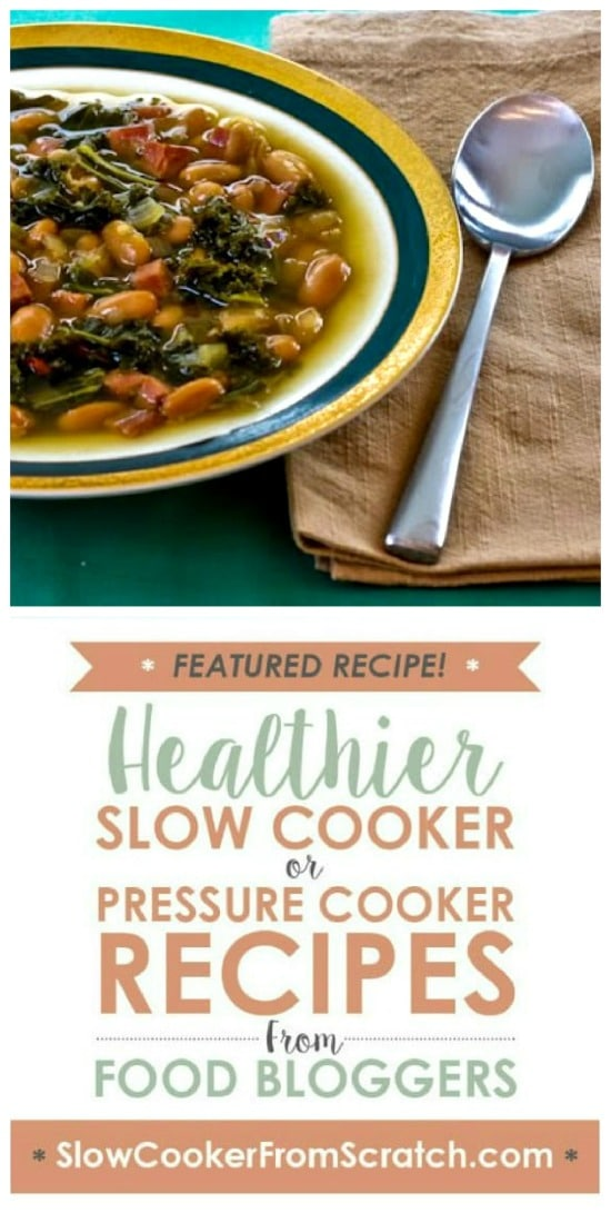 Slow Cooker (or Stovetop) Cannellini Bean and Kale Soup with Ham from Kalyn's Kitchen featured on Slow Cooker or Pressure Cooker at SlowCookerFromScratch.com
