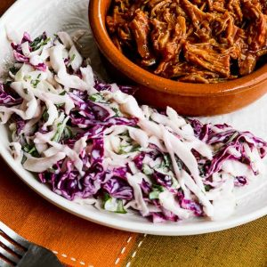 Pulled Pork with Low-Sugar Barbecue Sauce from Kalyn's Kitchen featured on Slow Cooker or Pressure Cooker at SlowCookerFromScratch.com