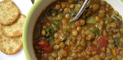 Slow Cooker (CrockPot) Vegan Lentil Soup Recipe from Everyday Maven featured on SlowCookerFromScratch.com