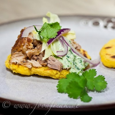 Slow Cooker Mexican Pork with Gorditas Recipe from Foodfreak [found on SlowCookerFromScratch.com]