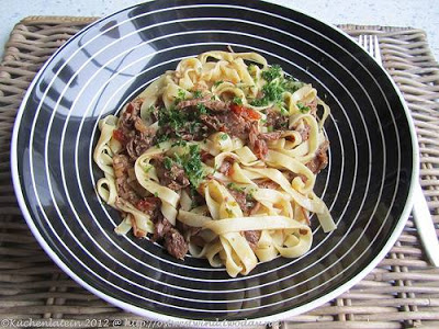 Slow Cooker Beef Cheeks Ragu Recipe from Kuchenlatein [found on SlowCookerFromScratch.com]