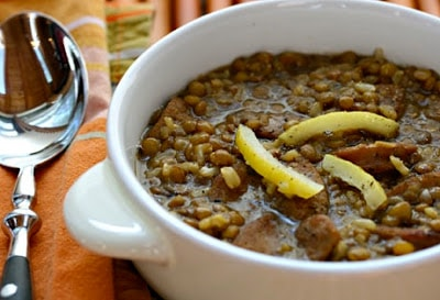 Slow Cooker Lentil and Brown Rice Soup with Preserved Lemons and Garlic Sausage from The Perfect Pantry featured on Slow Cooker or Pressure Cooker at SlowCookerFromScratch.com