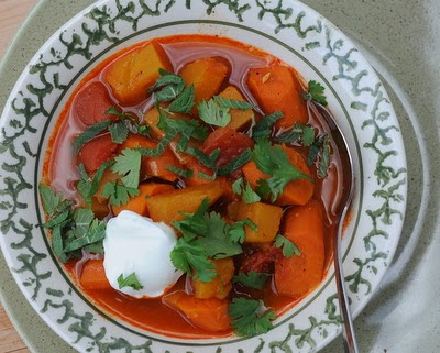 Slow Cooker Squash and Carrot Stew from Kitchen Parade featured on SlowCookerFromScratch.com