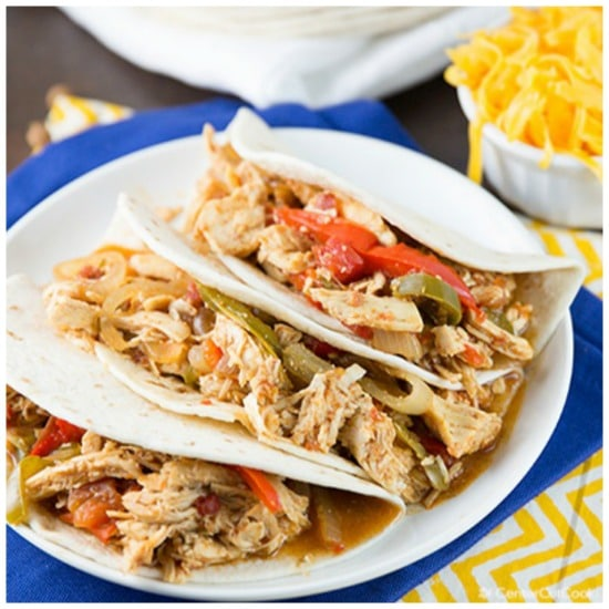 Three Tempting Recipes for Chicken Fajitas (Slow Cooker or Pressure Cooker) featured on Slow Cooker or Pressure Cooker at SlowCookerFromScratch.com