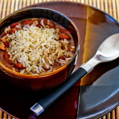 Slow Cooker Louisiana-Style Red Beans and Rice Recipe from Kalyn's Kitchen featured on Slow Cooker or Pressure Cooker at SlowCookerFromScratch.com