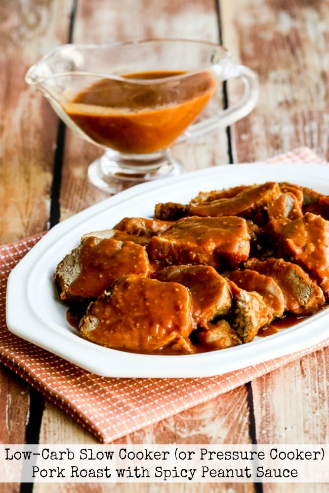 Low-Carb Slow Cooker Pork Roast with Spicy Peanut Sauce