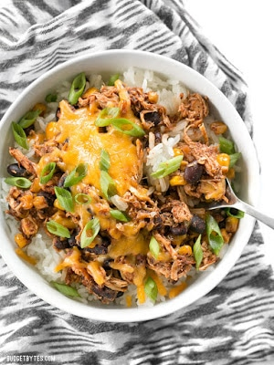 Slow Cooker Taco Chicken Bowls from Budget Bytes found on SlowCookerFromScratch.com