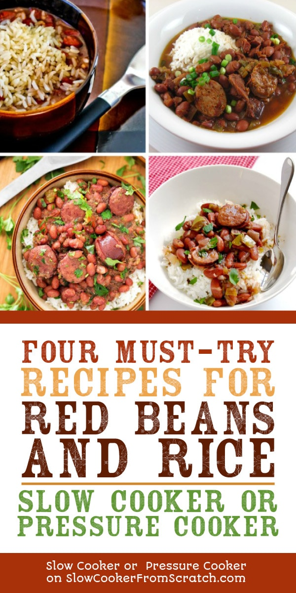 Four Must-Try Recipes for Red Beans and Rice featured on Slow Cooker or Pressure Cooker