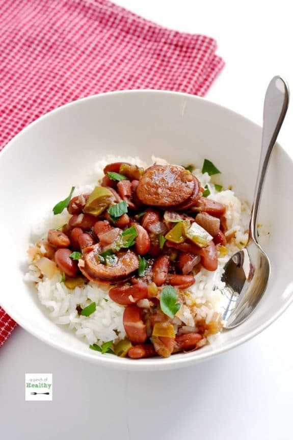 Four Must-Try Recipes for Red Beans and Rice featured on Slow Cooker or Pressure Cooker at SlowCookerFromScratch.com