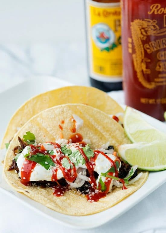 Four Fabulous Recipes for Korean Beef Tacos found on Slow Cooker or Pressure Cooker at SlowCookerFromScratch.com
