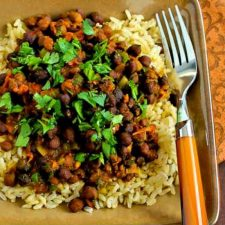 Slow Cooker Vegan Black Garbanzo Bean Curry from Kalyn's Kitchen featured on Slow Cooker or Pressure Cooker at SlowCookerFromScratch.com