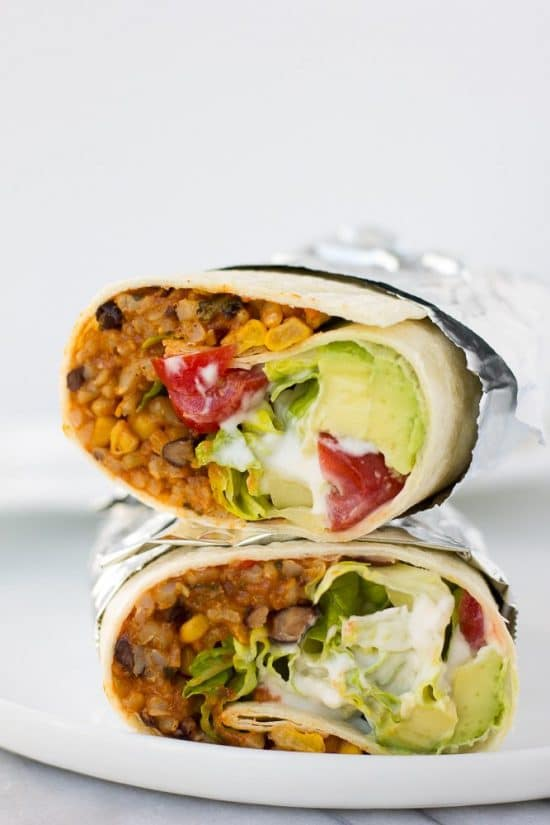 Three Tasty Recipes for Vegetarian Burritos featured on Slow Cooker or Pressure Cooker at SlowCookerFromScratch.com