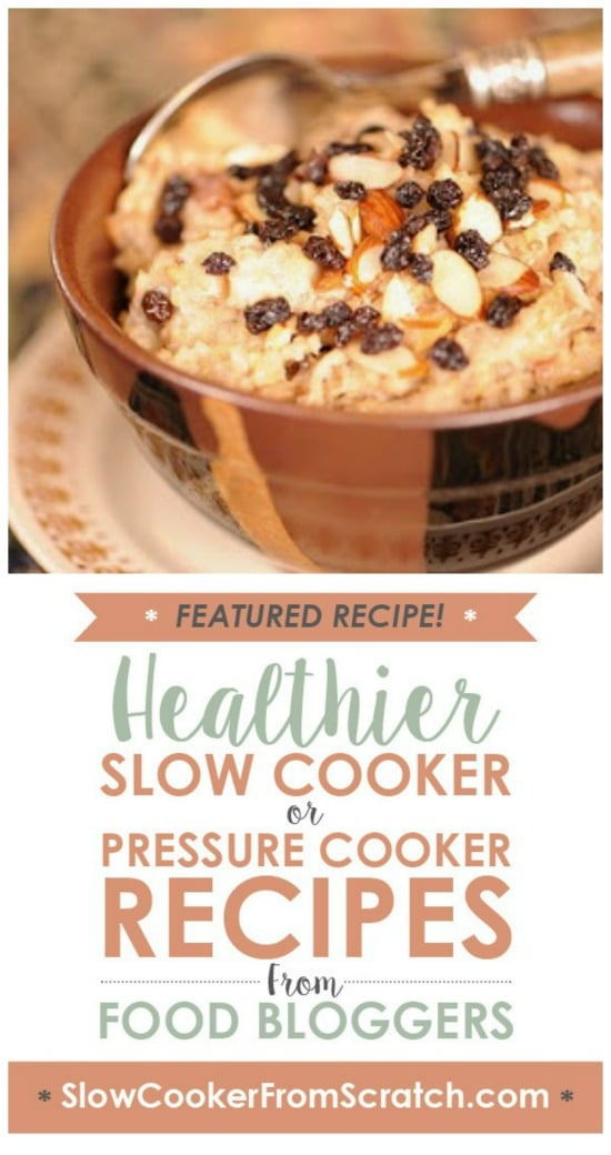 Slow Cooker Joyful Almond Oatmeal Recipe from Apron Strings featured on Slow Cooker or Pressure Cooker at SlowCookerFromScratch.com