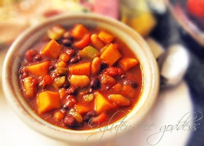 Slow Cooker Sweet and Spicy Vegetarian Butternut Chili from Gluten-Free Goddess found on SlowCookerFromScratch.com