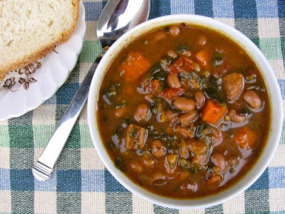 Slow Cooker Hearty Wintertime Black-Eyed Pea, Vegetable, and Sausage Soup Recipe from Simple Nourished Living found on SlowCookerFromScratch.com