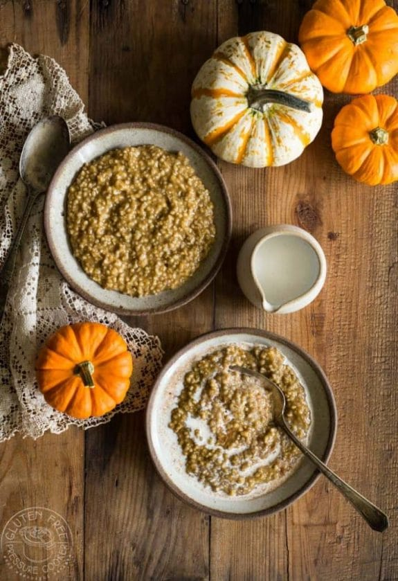 Three Tasty Recipes for Pumpkin Spice Oatmeal featured on Slow Cooker or Pressure Cooker at SlowCookerFromScratch.com