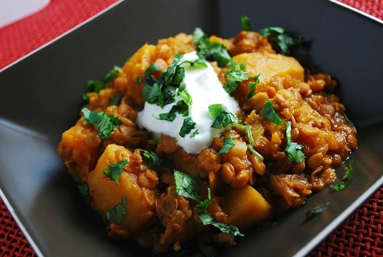 Slow Cooker Pumpkin Lentil Stew Recipe from LaaLoosh featured on Slow Cooker or Pressure Cooker at SlowCookerFromScratch.com