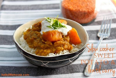 Slow Cooker Sweet Potato and Red Lentil Curry from Hello Little House featured on SlowCookerFromScratch.com