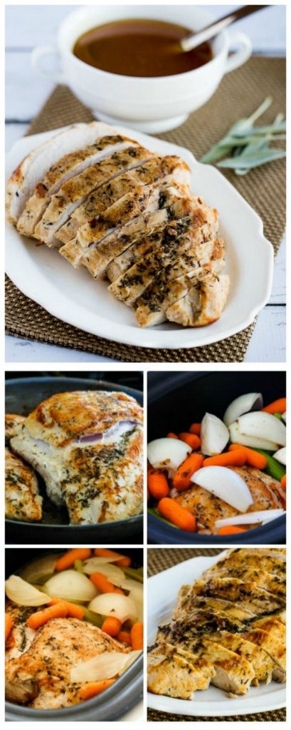 Slow Cooker Turkey Breast Recipe with Lower-Carb Gluten-Free Gravy from Kalyn's Kitchen [found on SlowCookerFromScratch.com]