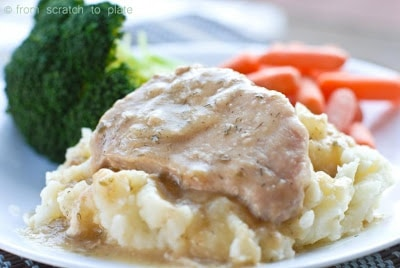 Slow Cooker Ranch Pork Chops by From Scratch to Plate found on SlowCookerFromScratch.com