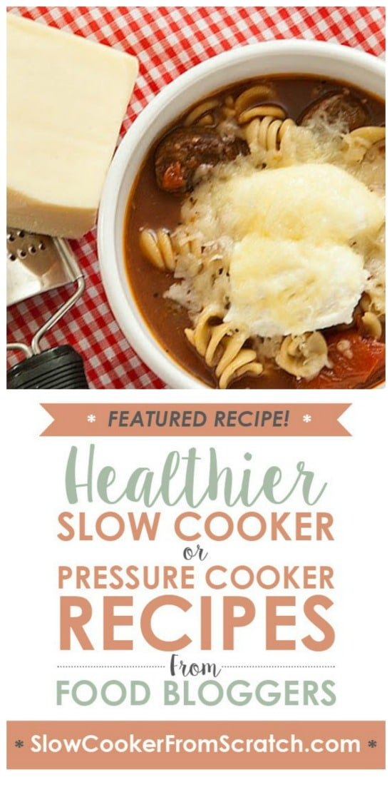 Slow Cooker Lasagna Soup from Real Mom Kitchen featured on Slow Cooker or Pressure Cooker at SlowCookerFromScratch.com