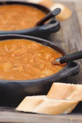 Chicken, potatoes, peanut butter, and interesting seasonings combine to make a delicious slow cooker stew. (From Kayotic Kitchen via SlowCookerFromScratch.com)