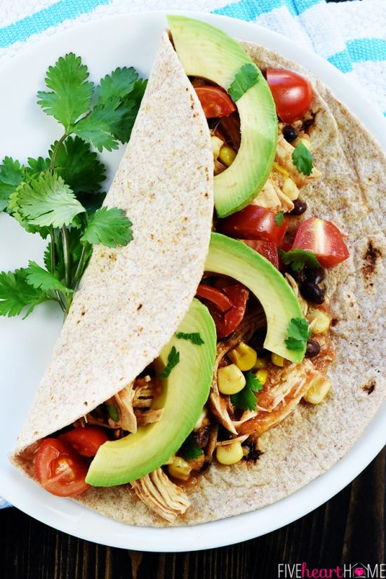 Three Terrific Recipes for Chicken and Black Bean Tacos featured on Slow Cooker or Pressure Cooker at SlowCookerFromScratch.com