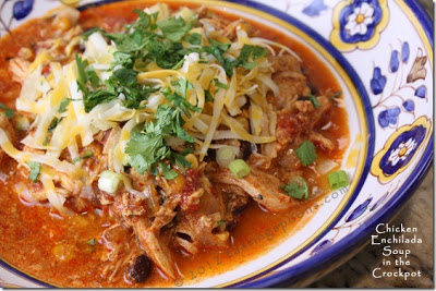Slow Cooker Chicken Enchilada Soup  from Tasting Spoons featured on  SlowCookerFromScratch.com
