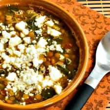Slow Cooker Vegetarian Greek Lentil Soup with Tomatoes, Spinach, and Feta from Kalyn's Kitchen featured on Slow Cooker or Pressure Cooker
