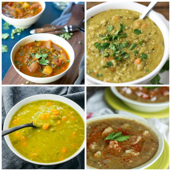 Four Appetizing Recipes For Vegetarian Split Pea Soup featured on Slow Cooker or Pressure Cooker at SlowCookerFromScratch.com