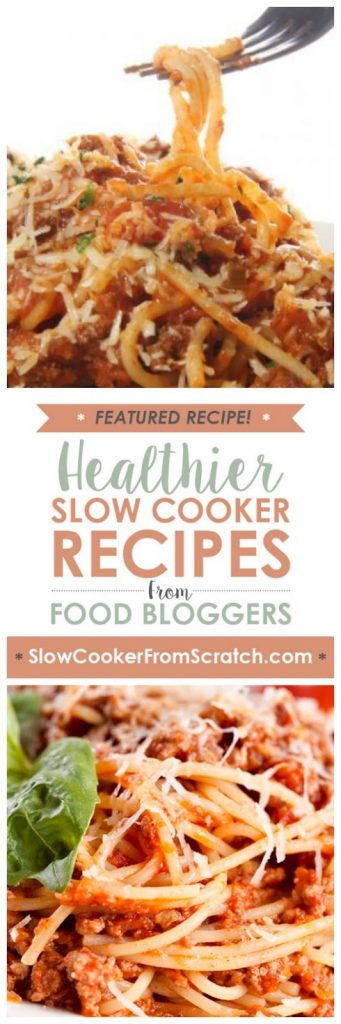 Slow Cooker Skinny Spaghetti from Skinny Ms. found on SlowCookerFromScratch.com