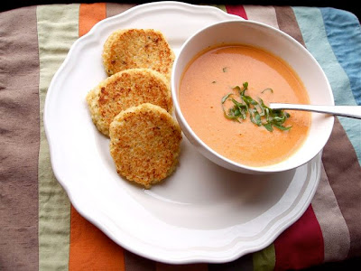 Creamy Slow Cooker Tomato Soup with Cheesy Quinoa Dippers from P B and J Eats found on SlowCookerFromScratch.com