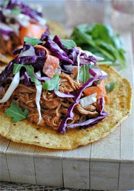 Three Terrific Recipes for Chicken Tostadas (Slow Cooker or Pressure Cooker) found on Slow Cooker or Pressure Cooker at SlowCookerFromScratch.com