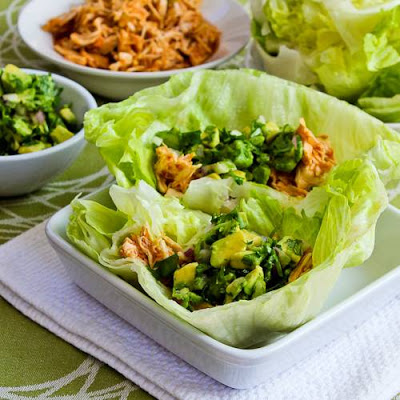 Slow Cooker Spicy Shredded Chicken Lettuce Wrap Tacos from Kalyn's Kitchen found on SlowCookerFromScratch.com