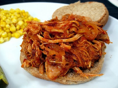 Slow Cooker Barbecue Pulled Chicken Sandwiches from Elly Says Opa featured on SlowCookerFromScratch.com