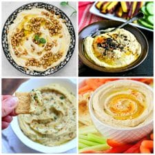 Slow Cooker and Instant Pot Hummus Recipes (and Recipes Using Hummus) top photo collage