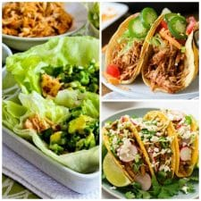 Three Easy Recipes for Shredded Chicken Tacos found on Slow Cooker or Pressure Cooker at SlowCookerFromScratch.com