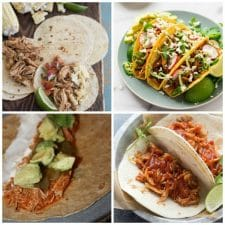Four Fantastic Recipes for Chipotle Chicken Tacos featured on Slow Cooker or Pressure Cooker at SlowCookerFromScratch.com