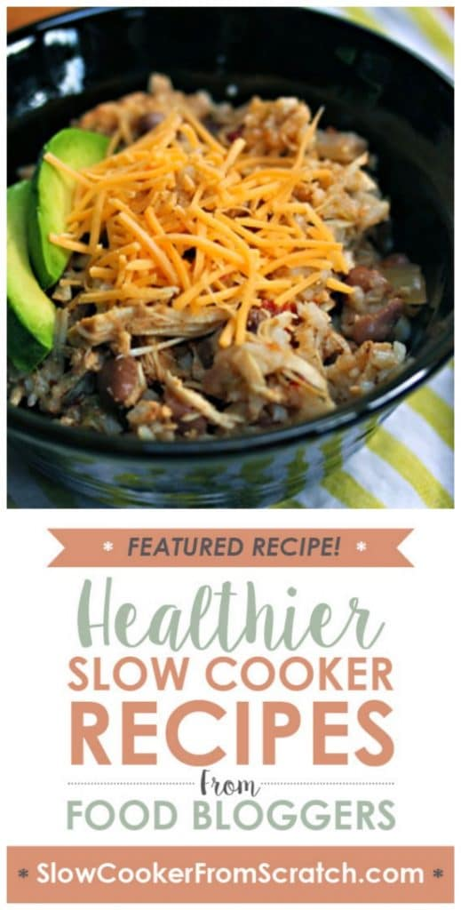 Slow Cooker Chicken and Pinto Bean Burrito Bowl from The Perfect Pantry featured on SlowCookerFromScratch.com