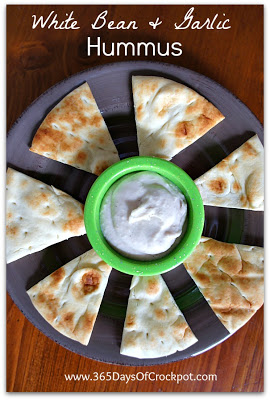 Slow Cooker White Bean and Garlic Hummus (Vegan) from 365 Days of Slow Cooking found on SlowCookerFromScratch.com