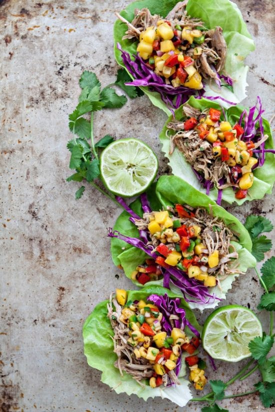 Three Mouth-Watering Recipes for Pork Lettuce Wrap Tacos featured on Slow Cooker or Pressure Cooker at SlowCookerFromScratch.com