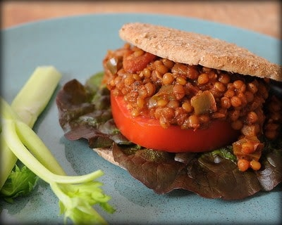 Slow Cooker Vegan Lentil Sloppy Joes from A Veggie Venture featured on SlowCookerFromScratch.com