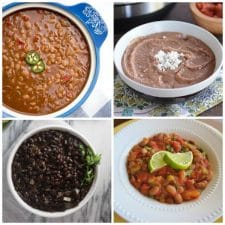 Four Fantastic Recipes for Mexican Beans featured on Slow Cooker or Pressure Cooker at SlowCookerFromScratch.com