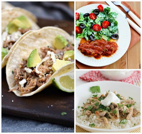 Three tasty recipes for Salsa Pork featured on Slow Cooker or Pressure Cooker at SlowCookerFromScratch.com