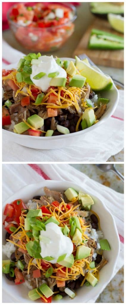 Slow Cooker Pork Burrito Bowls from Taste and Tell featured on SlowCookerFromScratch.com