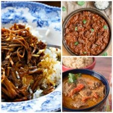 Three Amazing Recipes for Beef Curry featured on Slow Cooker or Pressure Cooker at SlowCookerFromScratch.com