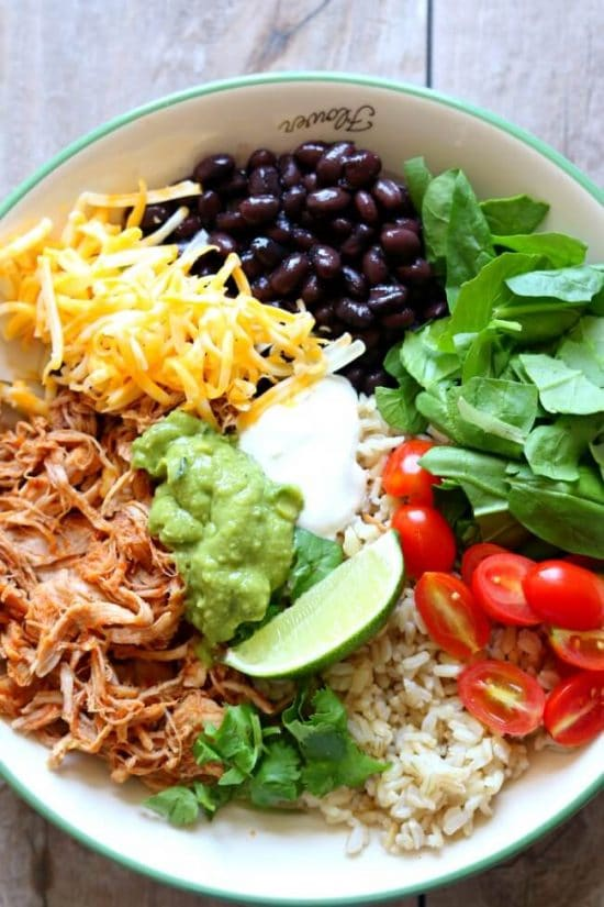 Three Simple Recipes for Pork Burrito Bowls found on Slow Cooker or Pressure Cooker at SlowCookerFromScratch.com
