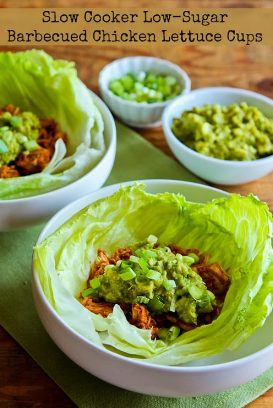 Slow Cooker Low-Sugar Barbecued Chicken Lettuce Cups from Kalyn's Kitchen found on Slow Cooker or Pressure Cooker at SlowCookerFromScratch.com