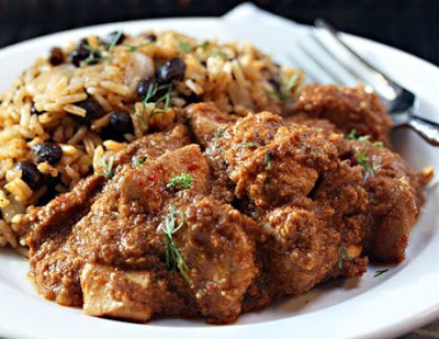 Slow Cooker Chicken in Peanut and Chile Sauce from The Perfect Pantry featured on SlowCookerFromScratch.com