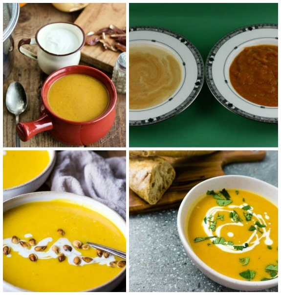 Four Flavorful Recipes for Pumpkin Soup featured on Slow Cooker or Pressure Cooker at SlowCookerFromScratch.com